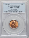 1951-D/S 1C Overmintmark, FS-501, MS64 Red PCGS. (FS-021.5). PCGS Population: (16/73). NGC Census: (5/4). Mintage 625,35...