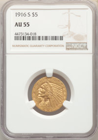 1916-S $5 AU55 NGC. NGC Census: (288/1684). PCGS Population: (237/1232). CDN: $500 Whsle. Bid for problem-free NGC/PCGS...