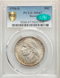 1936-S 50C Boone MS67 PCGS. CAC. PCGS Population: (77/3). NGC Census: (34/4). CDN: $660 Whsle. Bid for problem-free NGC/...