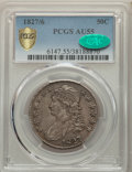 Bust Half Dollars, 1827/6 50C AU55 PCGS. CAC. PCGS Population: (36/62 and 0/3+). NGC Census: (14/46 and 0/1+). CDN: $800 Whsle. Bid for ...