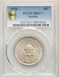 1936 50C Norfolk MS67+ PCGS. PCGS Population: (1181/212). NGC Census: (712/95). CDN: $350 Whsle. Bid for problem-free NG...
