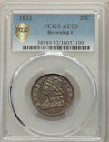Bust Quarters, 1833 25C B-1, R.2, AU53 PCGS. PCGS Population: (2/3 and 0/0+). NGC Census: (4/7 and 0/0+). AU53. Mintage 156,000. . ...
