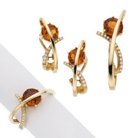 Citrine, Diamond, Gold Jewelry Suite