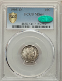 1905-O 10C MS64 PCGS. CAC. PCGS Population: (34/43 and 0/7+). NGC Census: (41/21 and 0/0+). CDN: $550 Whsle. Bid for pro...