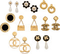 Luxury Accessories:Accessories, Chanel Set of Eight: Four Gold Earrings and Four Gold Clip On Earrings . Condition: 3 . See Extended Condition Report for ... (Total: 8 )