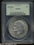 Eisenhower Dollars: , 1974-D $1 MS66 PCGS. ...