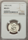 1942-D 25C MS67+ NGC. NGC Census: (142/2 and 5/0+). PCGS Population: (54/3 and 9/0+). CDN: $350 Whsle. Bid for problem-f...