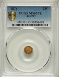 California Fractional Gold , 1874 25C Indian Octagonal 25 Cents, BG-795, R.3, MS65 Prooflike PCGS. PCGS Population: (1/0 and 0/0+). NGC Census: (14/7 an...