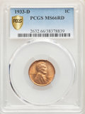 1933-D 1C MS66 Red PCGS. PCGS Population: (451/43). NGC Census: (306/38). CDN: $230 Whsle. Bid for problem-free NGC/PCGS...
