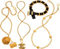 Luxury Accessories:Accessories, Chanel Set of Four: Three Gold Chain and One Leather Woven Chain Necklaces. Condition: 2. See Extended Condition Report fo... (Total: 4 )