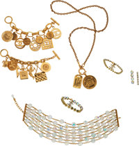 Chanel Set of Six: Four Gold Bracelets and Two Gold Necklaces Condition: 3 See Extended Condition Report for