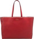 "Luxury Accessories:Bags, Valentino Red Leather Rockstud Medium Shopper Tote Bag with Gold Hardware. Condition: 2. Width 12.5"" x Height 8.5"" x D..."