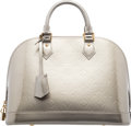 """Luxury Accessories:Bags, Louis Vuitton Grey Givre Monogram Alma PM Vernis Leather Bag. Condition: 2. 12.6"""" Width x 9.4"""" Height x 5.9"""" Depth. ..."""