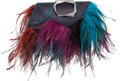 """Luxury Accessories:Bags, Roger Vivier Feather-Embellished Satin Clutch . Condition: 2. 11"""" Width x 9"""" Height x 1"""" Depth . ..."""