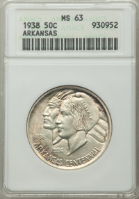 1938 50C Arkansas MS63 ANACS. CDN: $125 Whsle. Bid for problem-free NGC/PCGS MS63. Mintage 3,156