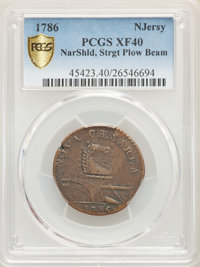1786 COPPER New Jersey Copper, Straight Plow Beam, XF40 BN PCGS.(PCGS# 45423)