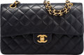 """Luxury Accessories:Bags, Chanel Black Quilted Lambskin Leather Double Flap Bag with Gold Hardware. Condition: 3. 10"""" Width x 7"""" Height x 3"""" Dep..."""