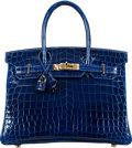 "Luxury Accessories:Bags, Hermès 30cm Blue Sapphire Niloticus Crocodile Birkin Bag with Gold Hardware. C, 2018. Condition: 1. 12"" Width x 8""..."