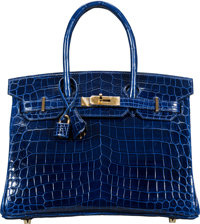 Hermès 30cm Blue Sapphire Niloticus Crocodile Birkin Bag with Gold Hardware C, 2018 Condition: 1<