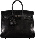 "Luxury Accessories:Bags, Hermès 25cm Black Lizard Birkin Bag with Palladium Hardware. K Square, 2007. Condition: 2. 10"" Width x 7"" Height x..."