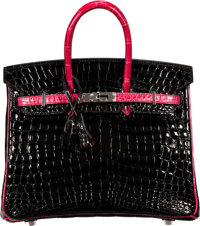 Hermès Special Order Horseshoe 25cm Black & Fuchsia Nilo Crocodile Birkin Bag with Palladium Hardware L S...