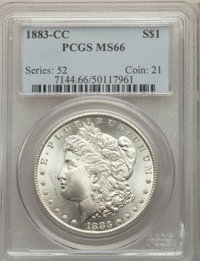 1883-CC $1 MS66 PCGS. PCGS Population: (2459/241). NGC Census: (1022/133). CDN: $530 Whsle. Bid for problem-free NGC/PCG...
