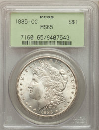 1885-CC $1 MS65 PCGS. PCGS Population: (4520/1380). NGC Census: (1801/784). CDN: $780 Whsle. Bid for problem-free NGC/PC...