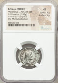 Ancients:Roman Imperial, Ancients: Maximinus I (AD 235-238). AR denarius (21mm, 3.18 gm, 12h). NGC MS 4/5 - 4/5....