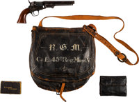 Painted Haversack , 1849 Pocket Model Pistol, New Testament, and Housewife Identified to Pvt. Robert G. Molineux, Co. E...
