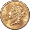 1857-S $20 Spiked Shield, S.S. Central America With Pinch, MS66 PCGS....(PCGS# 670713)
