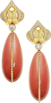 Diamond, Coral, Gold Earrings, Henry Dunay