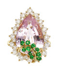 Estate Jewelry:Rings, Kunzite, Diamond, Tsavorite Garnet, Gold Ring, Kurt Wayne. ...