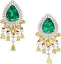 Estate Jewelry:Earrings, Emerald, Colored Diamond, Diamond, White Gold Earrings. ...