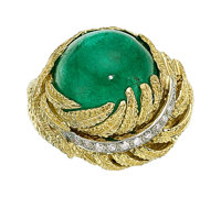 Colombian Emerald, Diamond, Gold Ring