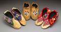American Indian Art:Beadwork and Quillwork, Three Pairs of Prairie / Great Lakes Beaded Hide Moccasins... (Total: 6 )
