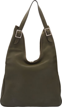"Hermès Olive Green Togo Leather Massai PM Bag with Palladium Hardware D Square, 2000 Condition: 3 13"" Width..."