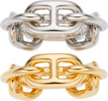 Luxury Accessories:Accessories, Hermès Set of Two: Gold and Palladium Regate Scarf Rings. Condition: 1. See Extended Condition Report for Sizes.... ... (Total: 2 )