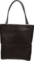 "Luxury Accessories:Home, Loro Piana Dark Brown Calf Box Leather Tote with Silver Hardware. Condition: 3. 13"" Width x 14"" Height x 5"" Depth. ..."