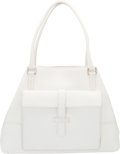 """Luxury Accessories:Bags, Loro Piana White Leather Globe Bag with Silver Hardware. Condition: 2. Dims: 16"""" x 12"""" x 17"""". ..."""