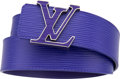 """Luxury Accessories:Accessories, Louis Vuitton Purple Epi Leather Belt with Silver-Tone LV Monogram Hardware. Condition: 1. 40"""" Length x 1.5"""" Height..."""