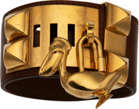 Hermes Barenia Calf Box Leather Collier de Chien L Fauve with Gold Hardware G Square, 2003 Condit
