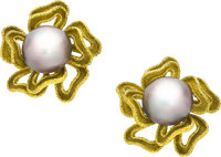 Mabe Pearl, Gold Earrings