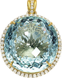 Paraiba-Type Tourmaline, Diamond, Gold Pendant