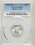 Mercury Dimes, 1941-S/S 10C Repunched Mintmark, FS-501 MS64 PCGS. PCGS Population: (12/20). NGC Census: (5/15). MS64....