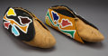 American Indian Art:Beadwork and Quillwork, A Pair of Otoe Beaded Hide Moccasins... (Total: 2 )