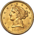 Liberty Half Eagles, 1852 $5 MS64 PCGS....