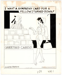 Gladys Parker Mopsy Daily Single Panel Comic Strip Original Art dated 3-27-65 (Bell-McClure Syndicate, 1965)