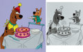 """Animation Art:Presentation Cel, """"Happy Birthday Scooby-Doo"""" Publicity Cel with Photo and P..."""