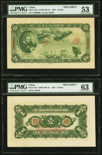 China Federal Reserve Bank of China 1 Dollar 1938 Pick J54s S/M#C286-10 Front and Back Specimens PMG About Uncirculated...