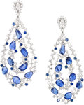 Estate Jewelry:Earrings, Diamond, Sapphire, White Gold Earrings, Sam Saab. ...